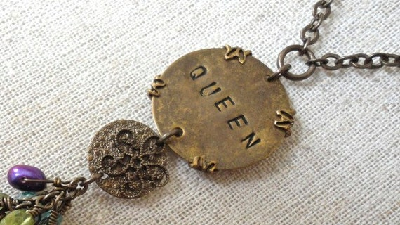 RESERVED Hand Stamped Queen Brass Necklace Blue-Green-Purple Glass Pearls and Beads