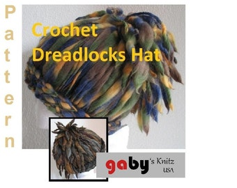Crochet Pattern for cool Hat with Dreadlocks Ponytail