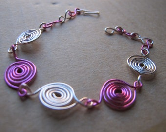 Silver wire wrapped anklet or bracelet with pink spirals, ankle bracelet, ankle jewelry, wire wrapped jewelry