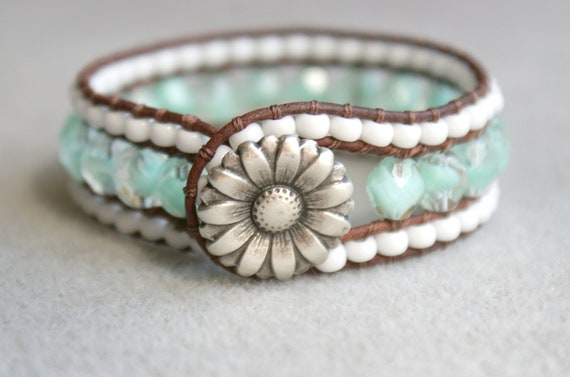 Aqua Boho leather wrap bracelet, leather cuff, Chan Luu Style, mint green, white, the last one