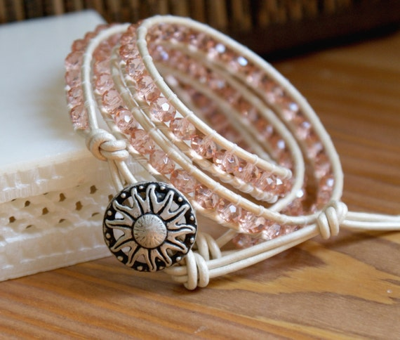 Leather wrap bracelet, Pink crystals boho sparkling triple wrap, bohemian jewelry, trendy, bridal, flower, white, pearl