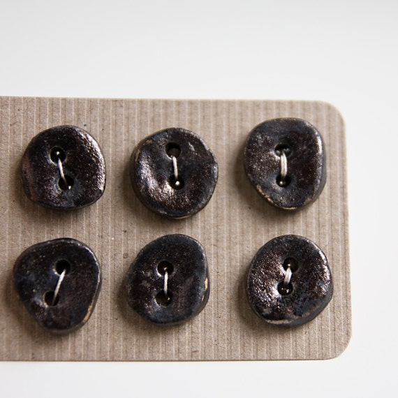 dark ceramic buttons, rustic, distressed metallic finish, set of six irregular oval petite pottery buttons by karoArt, made in Ireland