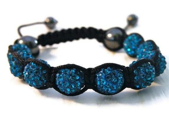 Blue Shamballa Bracelet/ Disco Ball Bracelet/ Crystal/ Ready to ship