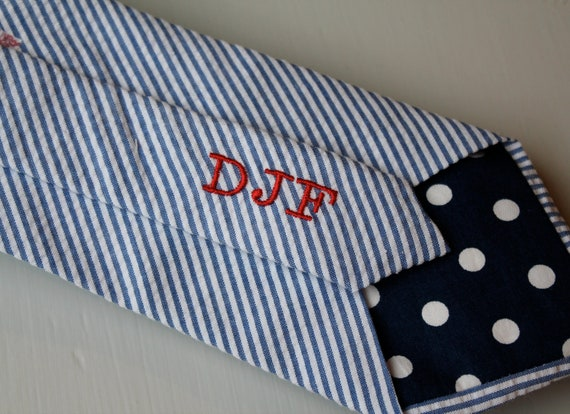 Men's traditional Blue Seersucker tie - Monogramed with Inintals