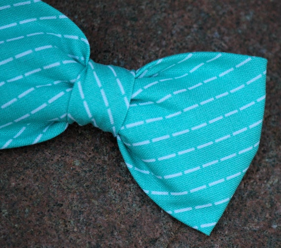 Bow Tie in Turquoise Stitch - Clip on, pre-tied with adjustable strap or self tying