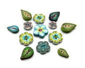 Green Flower buttons Leaf handmade buttons - polymer clay-  Set of 13 -  apple cozy buttons - lime green yellow blue turquoise brown