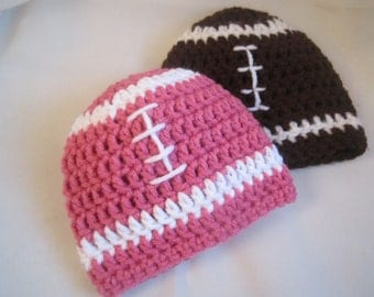 Twin Football Hats --  Football Hats in Pink or Brown  -- Twins Photo Prop  --  Twin hats - Football baby - baby football hat - twins hat