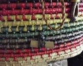 SALE SALE  Tropical summer basket woven purse straw raffia many colors