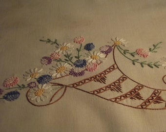 Small antique hand embroidered table cloth 40's