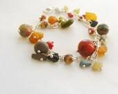 Natural stone bracelet, semi precious jewelry, rainbow bracelet, chain and stone bracelets, raw baltic amber bracelet