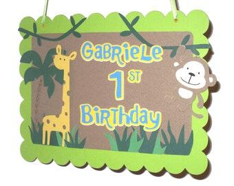 JUNGLE SAFARI ZOO Custom Door Sign - Birthday or Shower