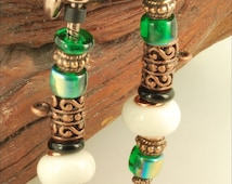 Beautiful copper-plated rope-style metal wrist watch band decorated with white porcelain, green glass and fancy copper-plated beads