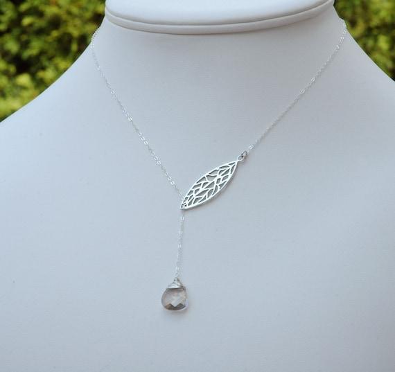 Silver Leaf Y Necklace, Swarovski Crystal, Lariat Style Necklace, Bridesmaid Necklaces, Bridal Jewelry, Sterling Silver Necklace