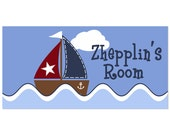 Name Sign Door Personalized Nautical Sailboat Children Wall Art Nursery Decor