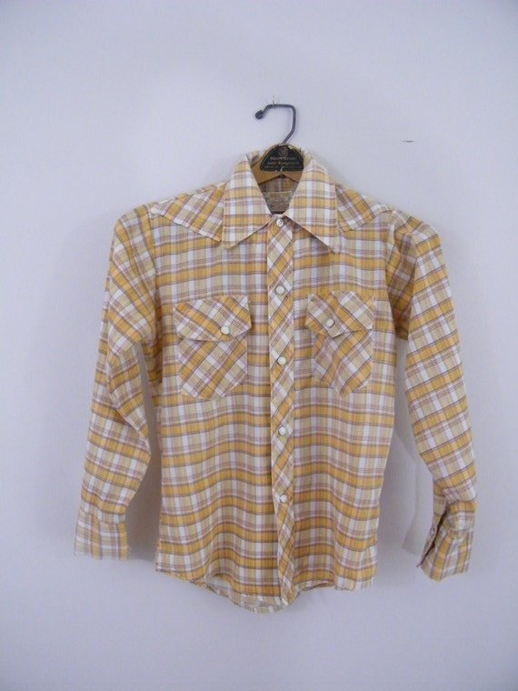 Vintage 1970s Child's Western Shirt / Sands Point / Yellow Plaid / Size 12