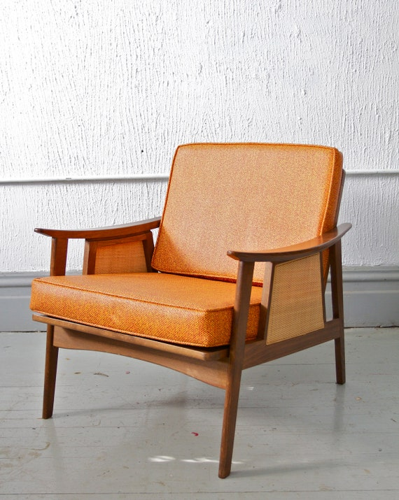 Mid Century / Retro Orange Lounge Chair with Reversible Cushions