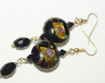 Tea Rose Earrings Lampwork Earrings  Black and Purple Flower Earrings