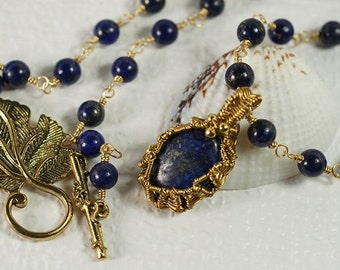 Lapis Lazuli Necklace Wire Wrapped Pendant Necklace Wire Wrapped Handmade Jewelry