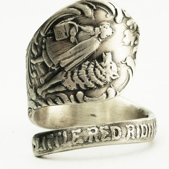 Little Red Riding Hood Sterling Silver Spoon Ring, Handcrafted in your size (2496)