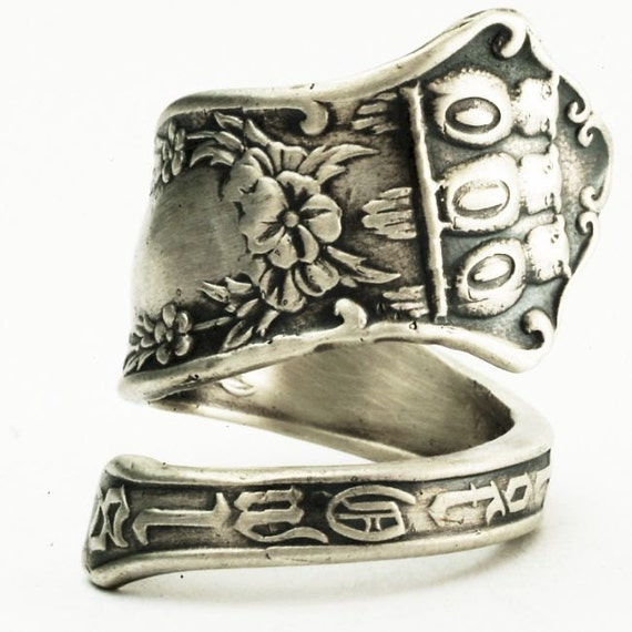 Owl Ring Spoon Ring Masonic Order Of Owls Ring in Sterling Silver, Made in Your Size (2503)