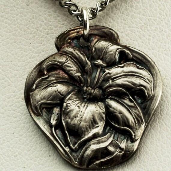 Spoon Pendant Lovely Daylily Victorian Era Sterling Lily Pattern Pendant (P028)
