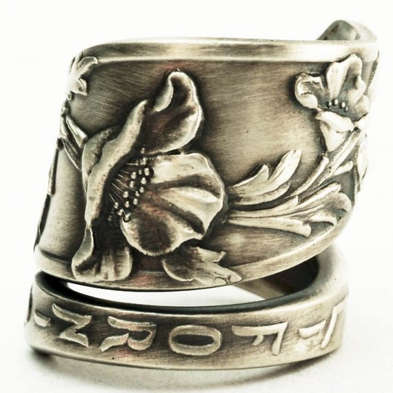 Spoon Ring Vintage California Poppy Sterling Silver Spoon Ring, Handmade in Your Size (2580)