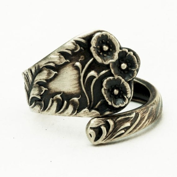 Spoon Ring, Vintage Itty Bitty Buttercup Floral Sterling Silver Spoon Ring, Handmade in Your Size (2657)