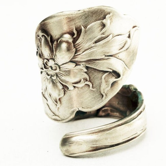 Lovely Columbine Sterling Silver Flower Spoon Ring, Handcrafted in YOUR Size (2821)