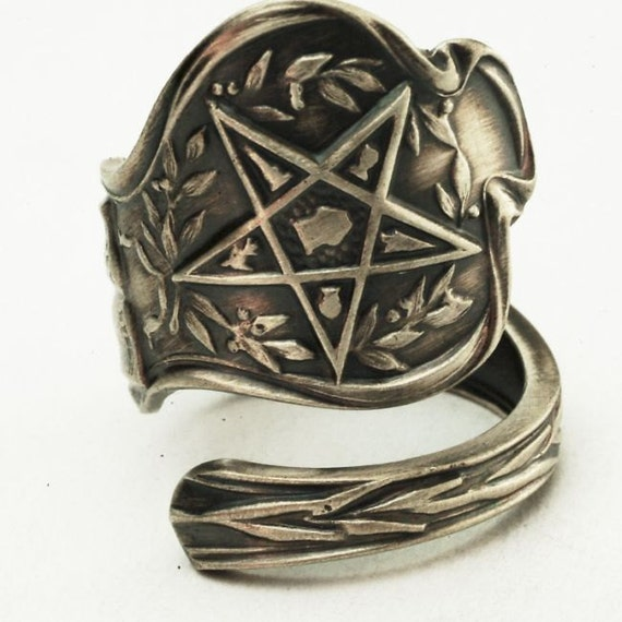 Spoon Ring Order of the Eastern Star Masonic Freemason Sterling, Handmade in YOUR Size (2893)