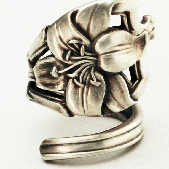 Art Nouveau Alvin Lily Sterling Silver Spoon Ring , Handmade to your size (2916)