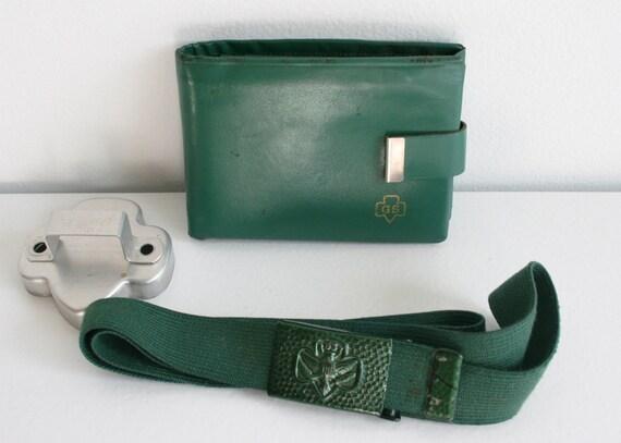 Vintage Girl Scouts Memorabilia Lot - Green Leather Wallet, Elastic Belt & Cookie Cutter