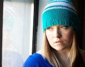Striped Beanie Unisex TRIO Teal Turquoise White Striped Hand Knit