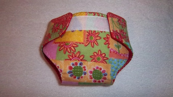 Baby doll diaper - multi-colored flowers