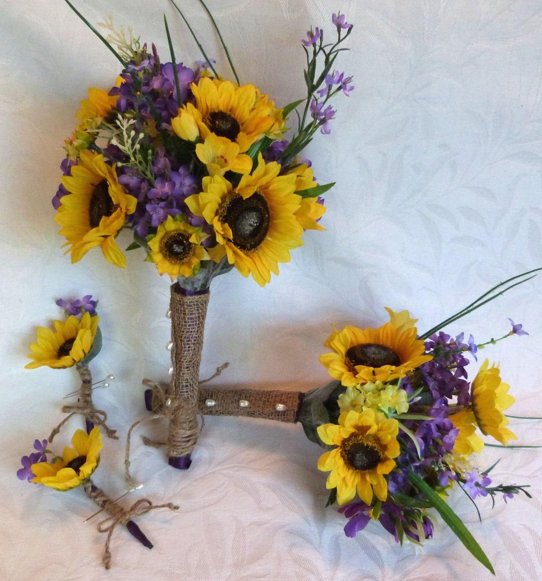Sunflower Wedding Bouquet Ideas: Sunflower Wedding Country Wedding 4 Piece Sunflower Bouquet