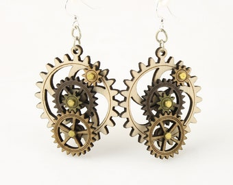 Earth Tone Kinetic Wood Gear Earrings #5003B