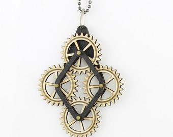 Diamond Wood Gear Pendant #7006A - It Moves to your touch