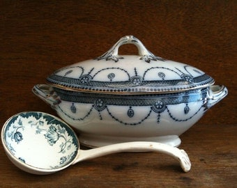 Antique English Blue and White Terrine Bowl with Mismatched Ladle circa 1910's / English Shop