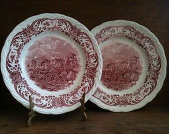 Vintage English Staffordshire Red and White Side Plate Set of Two circa 1940-50's / English Shop