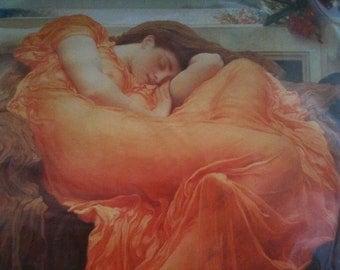 Vintage English Lady in Orange Flaming June print Sir Frederic Leighton circa 1993 / English Shop