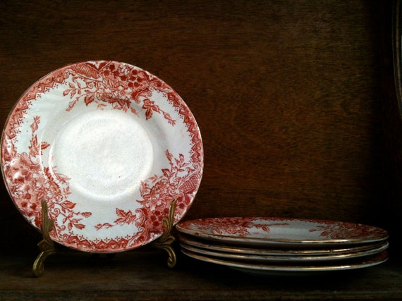 Vintage English red and white desert tea side cake plates saucers set of 5 circa 1920's / English Shop