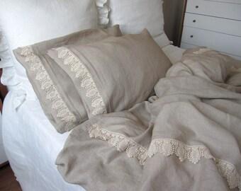 Oatmeal Beige linen Full / Queen king duvet cover elegant bedding with 2 pillow cases cotton lace trimmed -luxury linen bedding Nurdanceyiz