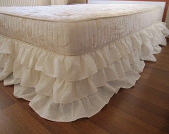 Queen king linen 3 tier ruffle bed skirt, Dust ruffle, shabby chic bedding- layered waterfall rows ruffle bedskirt lavender pink coral white