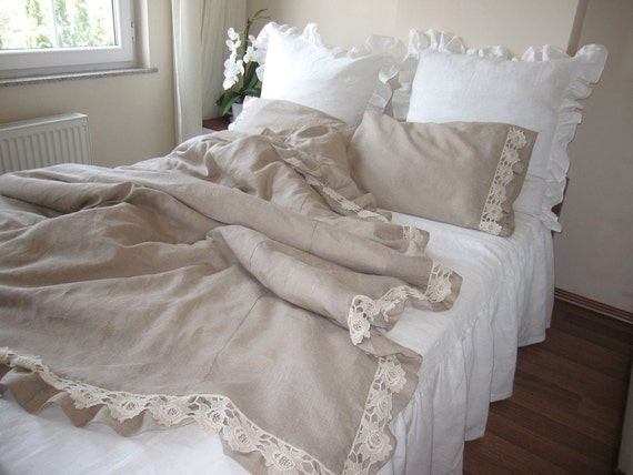 Cotton lace ruffled bedding, Ikea Full UK Double Queen duvet cover Solid Camel beige oatmeal linen bedding 2 pillow cases Nurdanceyiz