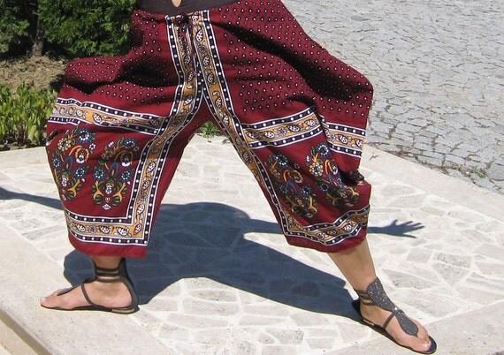 Organic Cotton Harem Pants Ottoman tile Print-Yoga Wear, Lounge Wear, Dance Wear, Turkish Turkey