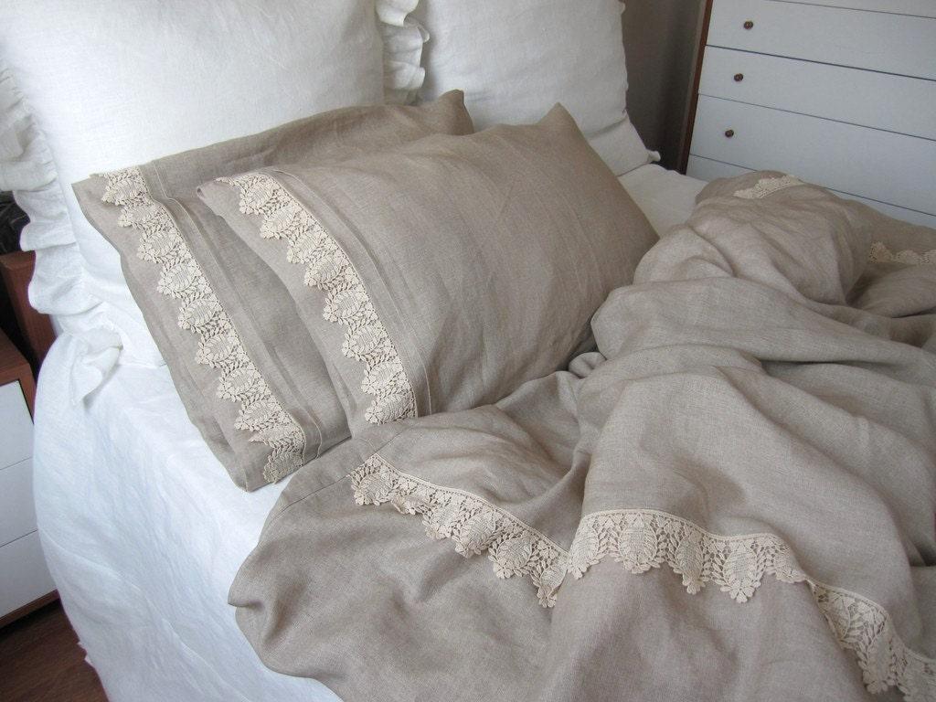 Oatmeal Beige Linen Full Queen King Duvet Cover Elegant