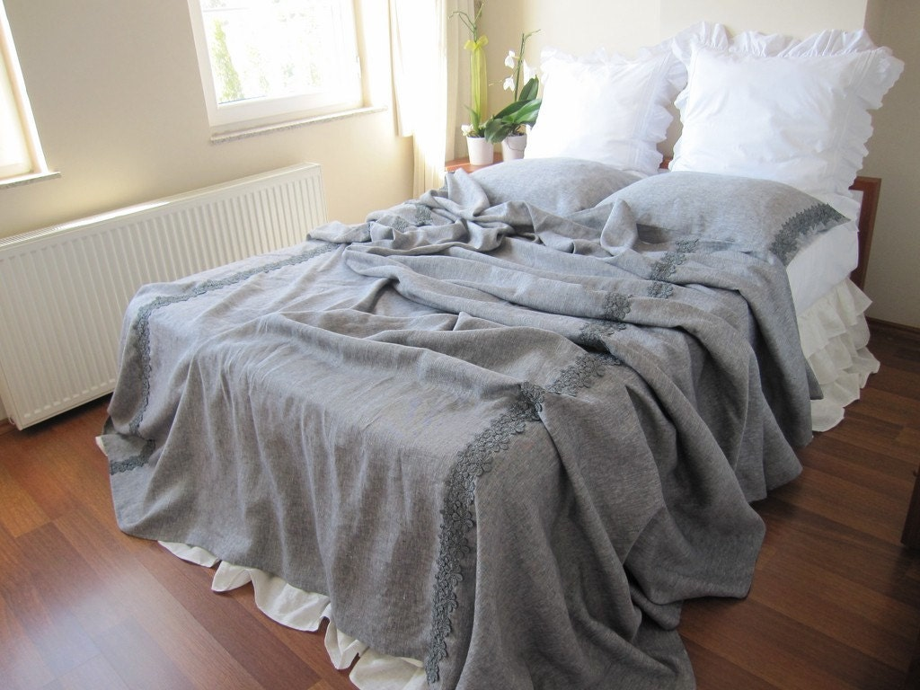 Grey shabby chic bedding gray linen queen or king size for Shabby chic bett