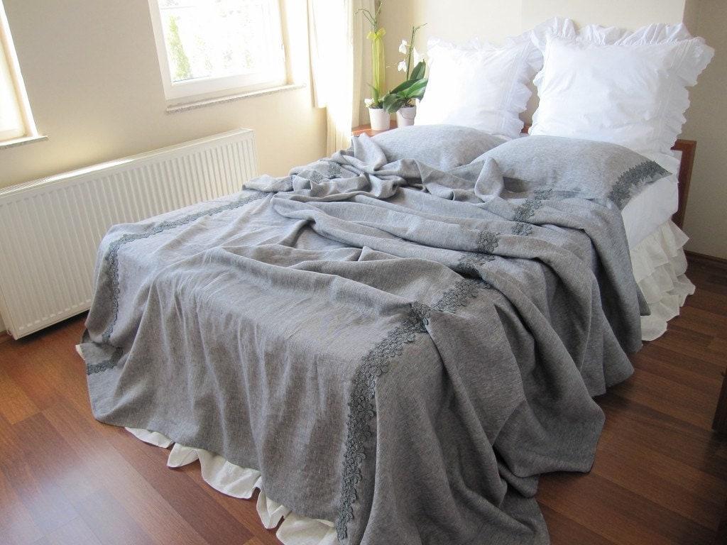 grey shabby chic bedding gray linen queen or king size. Black Bedroom Furniture Sets. Home Design Ideas