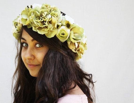 Flower Crown - Large Meadow Green Flower Headdress. Celery, Soft Green, Fae, Fairy Crown