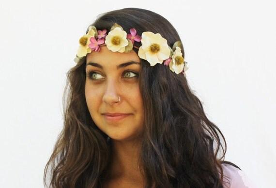 Flower Crown - Butter Yellow and Pink Floral Head Wreath. Autumn Weddings, Flower Girl, Bohemian Weddings, September