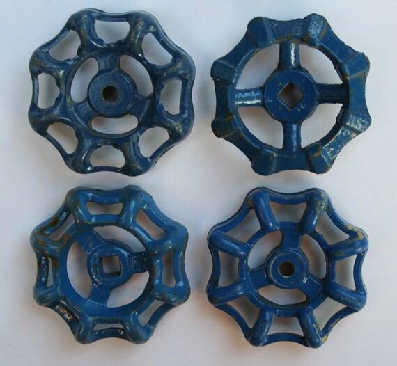 Free Shipping-Wonderful Blue Metal Vintage Valve Handles/Metal Faucet Handles/ Vintage Garden Faucet Knobs